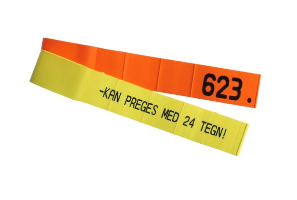 Produktfoto: KVIKK slips, oransje og gul, med preging